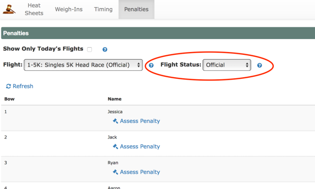 Update Flight status on penalty page