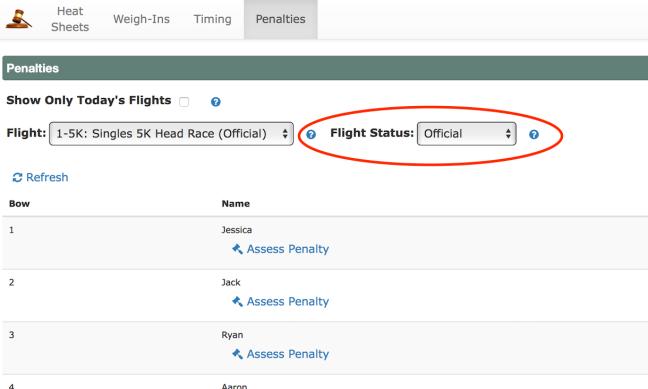 Update Flight status on penalty page